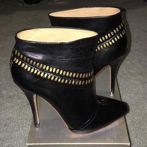 L.A.M.B. JAYCEE Studded Black Leather Ankle Boots